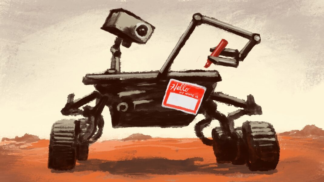 Illustration of Mars rover with blank name tag stuck on it and marker gripped in its robotic arm, poised to write (State Dept./D. Thompson)