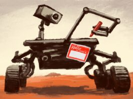 Illustration of Mars rover with name tag stuck on it (State Dept./D. Thompson)