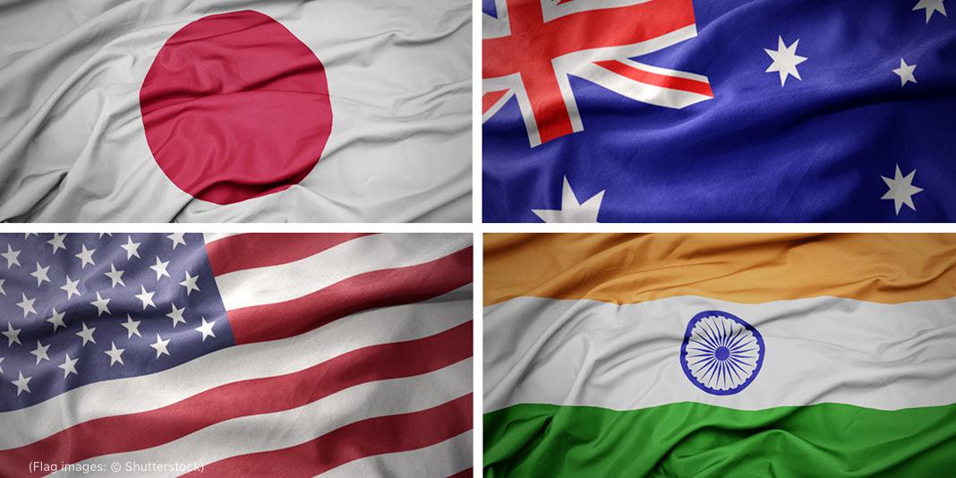Colagem de bandeiras de Japão, Austrália, Estados Unidos e Índia (Depto. de Estado/Imagens das bandeiras: © Shutterstock)
