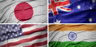A collage of the flags of Japan, Australia, the United States and India (Flag images: © Shutterstock)