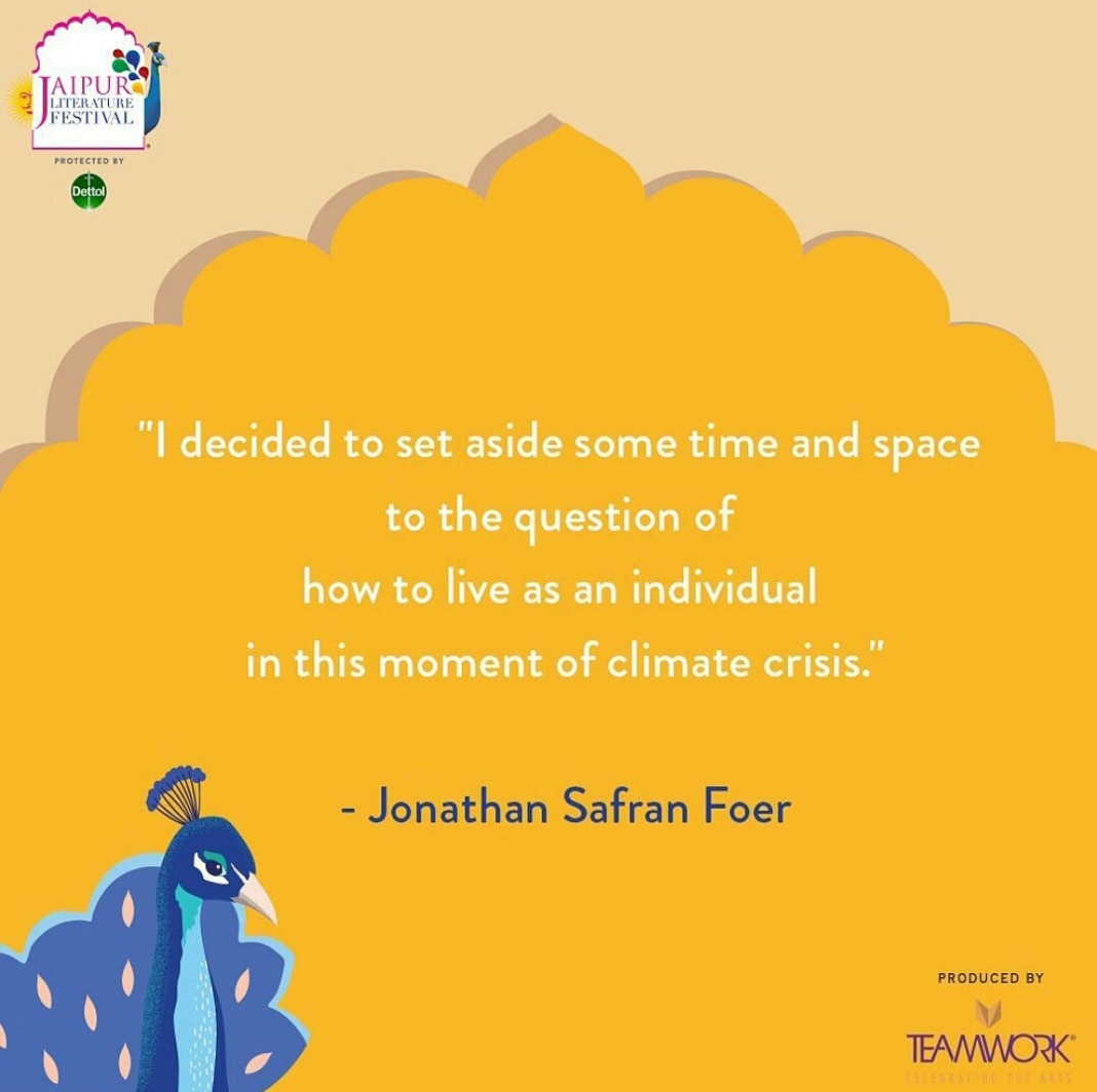 Graphic with Jonathan Safran Foer quote on climate crisis and illustration of peacock (Courtesy of Jaipur Literature Festival)