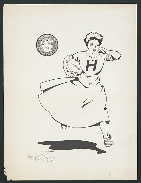 哈佛大学女子美式足球队球员(国会图书馆馆藏木刻版画/1905年)
