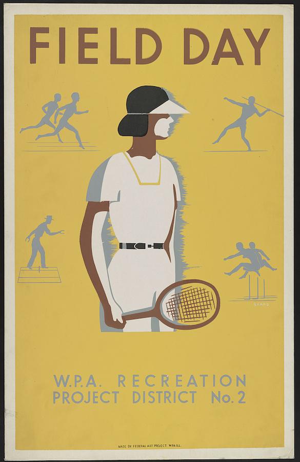 大萧条时期美国建立公共事业振兴署(Works Progress Administration, WPA),为解决失业兴办实业和公共工程。这是当时的一幅招贴画,显示女性工人在工间进行运动。(国会图书馆)