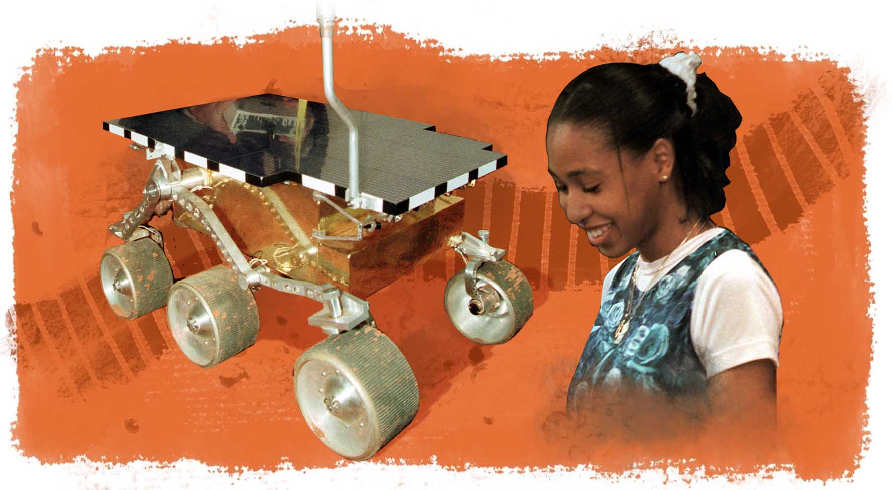 Photo of rover next to photo of Valerie Ambroise, with illustration of tread as background (Photos: © Thomas Kienzle; © Doug Mills/AP Images | Illustration: State Dept./D. Thompson)
