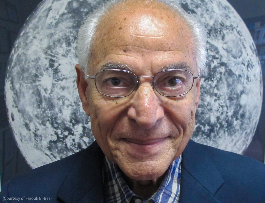 Farouk El-Baz in front of image of moon (Courtesy of Farouk El-Baz)