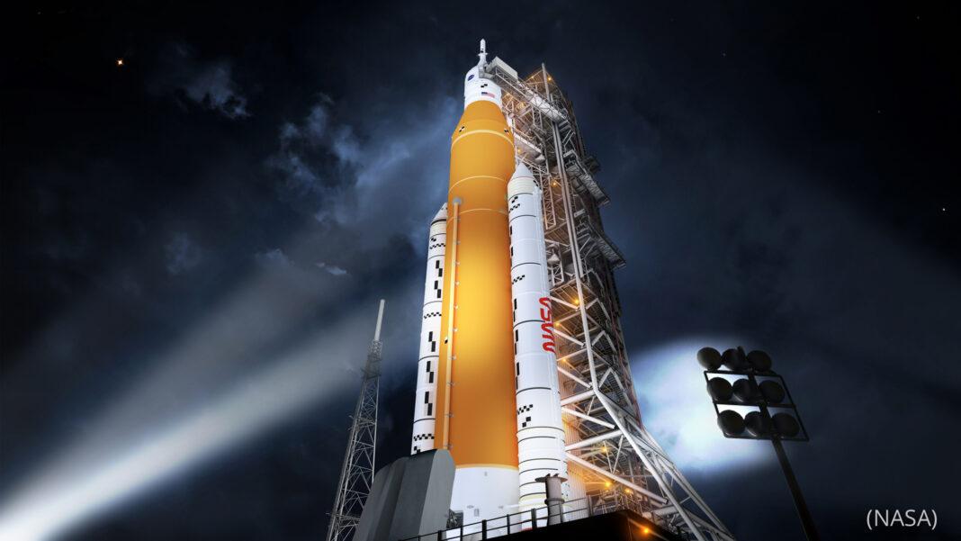 Illustration of NASA rocket on launch pad (NASA)