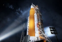 Illustration of NASA rocket on launch pad (NASA)