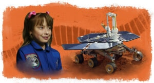 Photo of Sofi Collis next to photo of rover, with illustration of tread as background (Photos: © Manuel Balce Ceneta; © Peter Cosgrove/AP Images | Illustration: State Dept./D. Thompson)