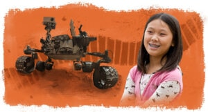 Photo of rover next to photo of Clara Ma, with illustration of tread as background (Photos: NASA; © Dutch Slager/AP Images | Illustration: State Dept./D. Thompson)