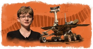 Photo of Alex Mather next to photo of rover, with illustration of tread as background (Photos: NASA/Aubrey Gemignani, NASA | Illustration: State Dept./D. Thompson)