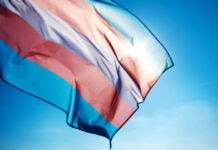 Closeup of a transgender pride flag waving on the blue sky (© Shutterstock)
