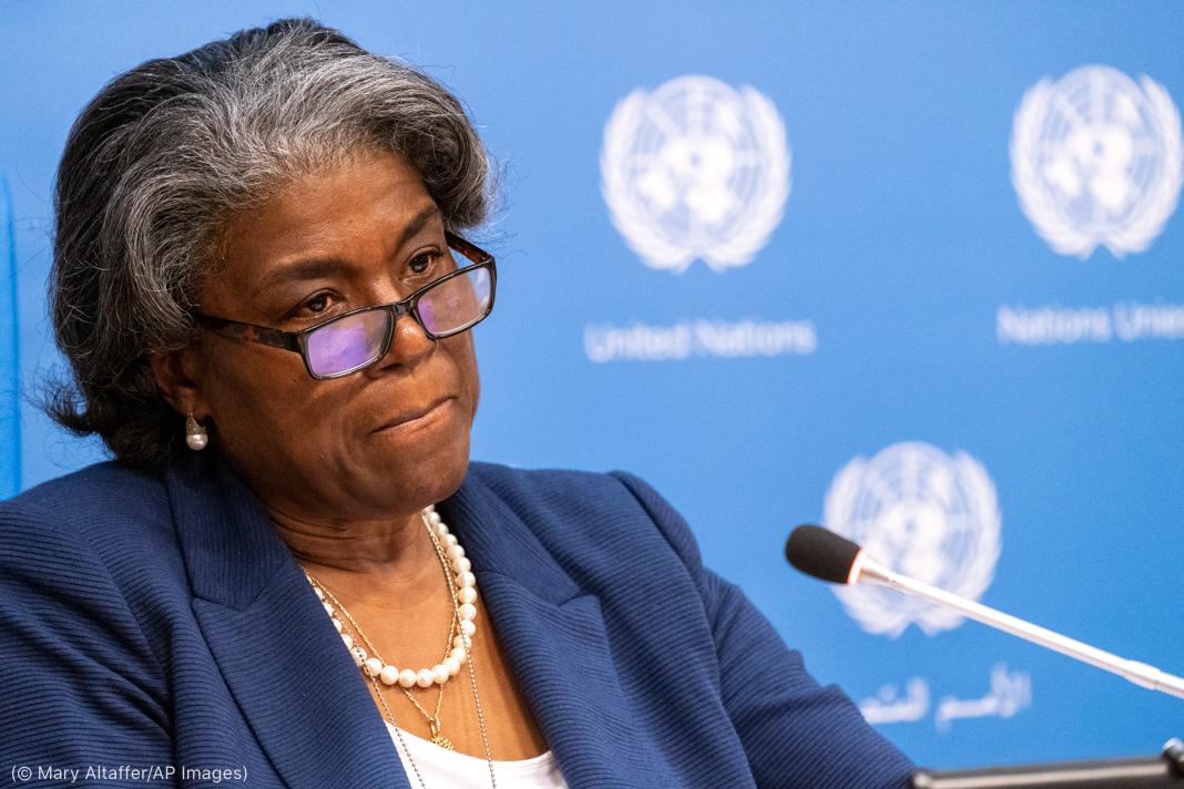 لنڈا تھامس-گرین فیلڈ مائیک کے پیچھے بیٹھی ہیں اور پس منظر میں اقوام متحدہ کے علامتی نشان دکھائی رہے ہیں (© Mary Altaffer/AP Images)