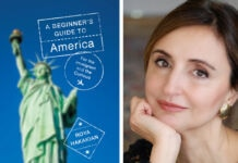 Left: book cover with Statue of Liberty (Courtesy of Alfred A. Knopf); Right: Author photo (©