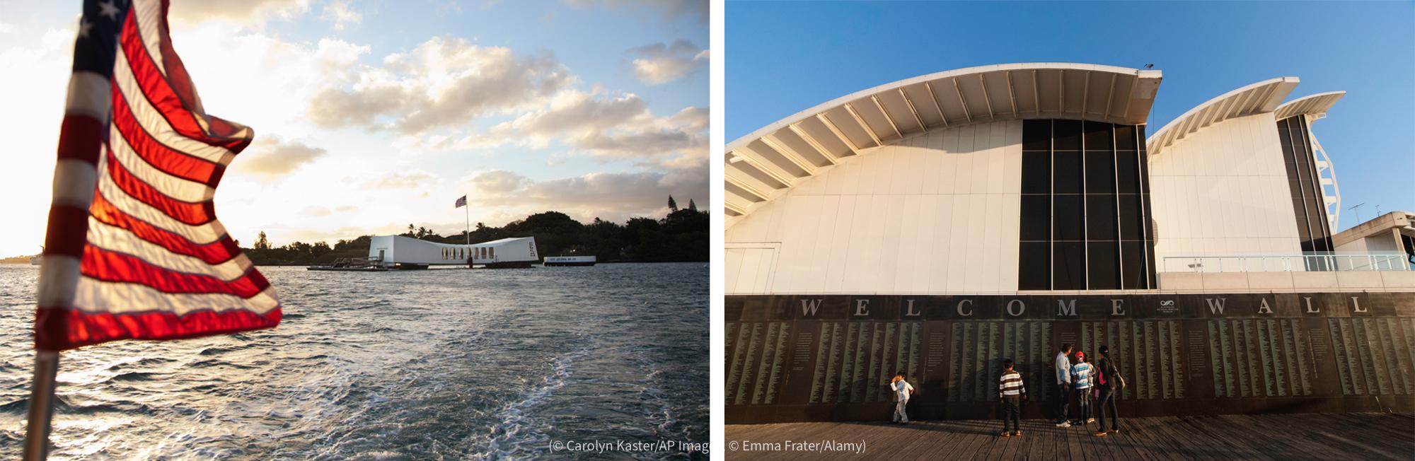 پانی کے اوپر لہراتا ہوا امریکی پرچم اور دور فاصلے پر دکھائی دیتی کم اونچائی والی سفید عمارت۔ پیش منظر میں دکھائی دیتے متعدد افراد اور ناموں والی دیوار کے پیچھے سفید قوسی عمارت۔ (© Carolyn Kaster/AP Images, © Emma Frater/Alamy)