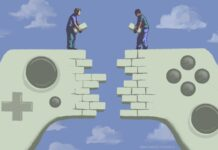 Illustration of two men building a connecting wall from two video game controllers (State Dept./D. Thompson)