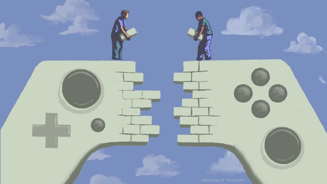 Ilustração de dois homens construindo uma parede que unirá duas metades de um controlador de videogame (Depto. de Estado/D. Thompson)