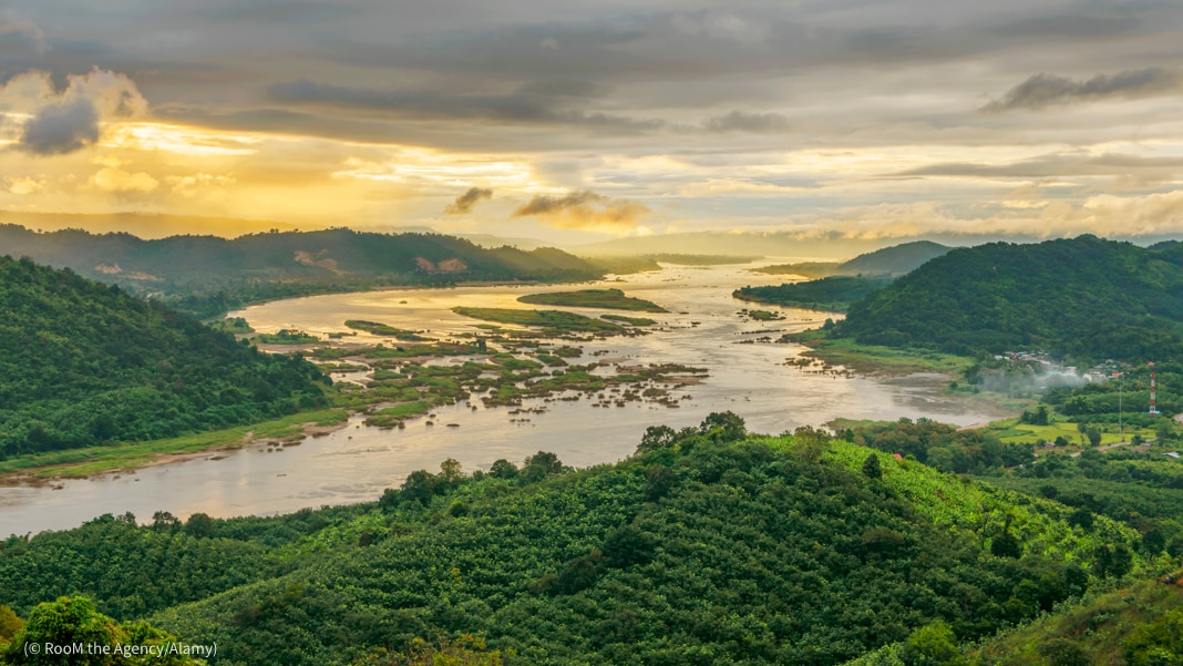 Aerial view of Mekong River and forest (© RooM the Agency/Alamy)