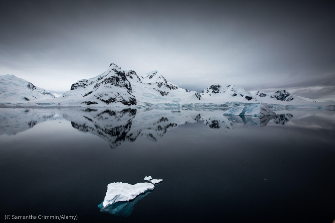 Glacier ice and icebergs in front of the mountains and glaciers (© Samantha Crimmin/Alamy)