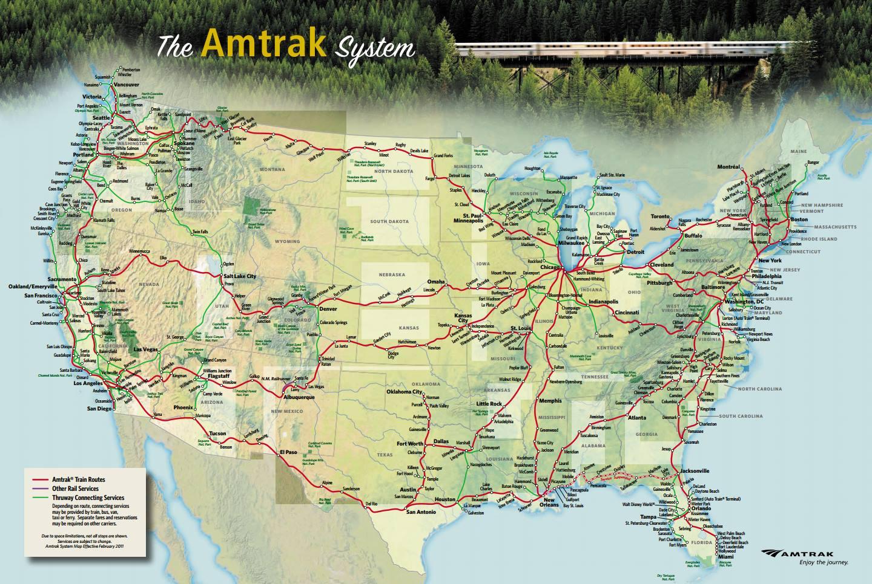 美铁线路图(地图:Amtrak)