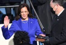 Kamala Harris taking the oath of office (© Saul Loeb/AP Images)