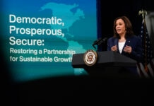 Kamala Harris speaking at lectern (© Patrick Semansky/AP Images)