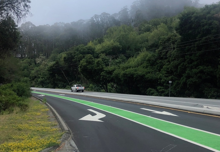 笔者住处附近一座公园的入口路面标识。两年前道路重修时,在入口分流处增设了绿色的自行车专用线,避免自行车与入园汽车发生碰撞事故。(Jianan)