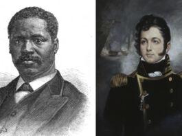 چپ: تصویری از موسی هاپکینز (مجله یکشنبه فرانک لزلی) راست: پرتره اُلیور هازارد پری (U.S. Naval Academy Museum Collection)