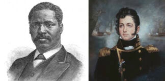 À esquerda: gravura de Moses A. Hopkins (Revista Sunday, de Frank Leslie)À direita: retrato de Oliver Hazard Perry (Acervo do Museu da Academia Naval dos EUA)