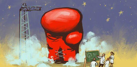 Ilustração de luva de boxe gigante em uma plataforma de lançamento e cientistas diante de um quadro-negro (Depto. de Estado/D. Thompson) C: (Depto. de Estado/D. Thompson)