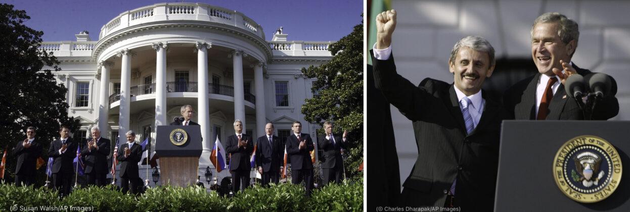 Fotografia naľavo: George W. Bush má prejav pred Bielym domom (© Susan Walsh/AP Images) Fotografia napravo: George W. Bush a Mikuláš Dzurinda stoja pri rečníckom pulte a mávajú (© Charles Dharapak/AP Images)