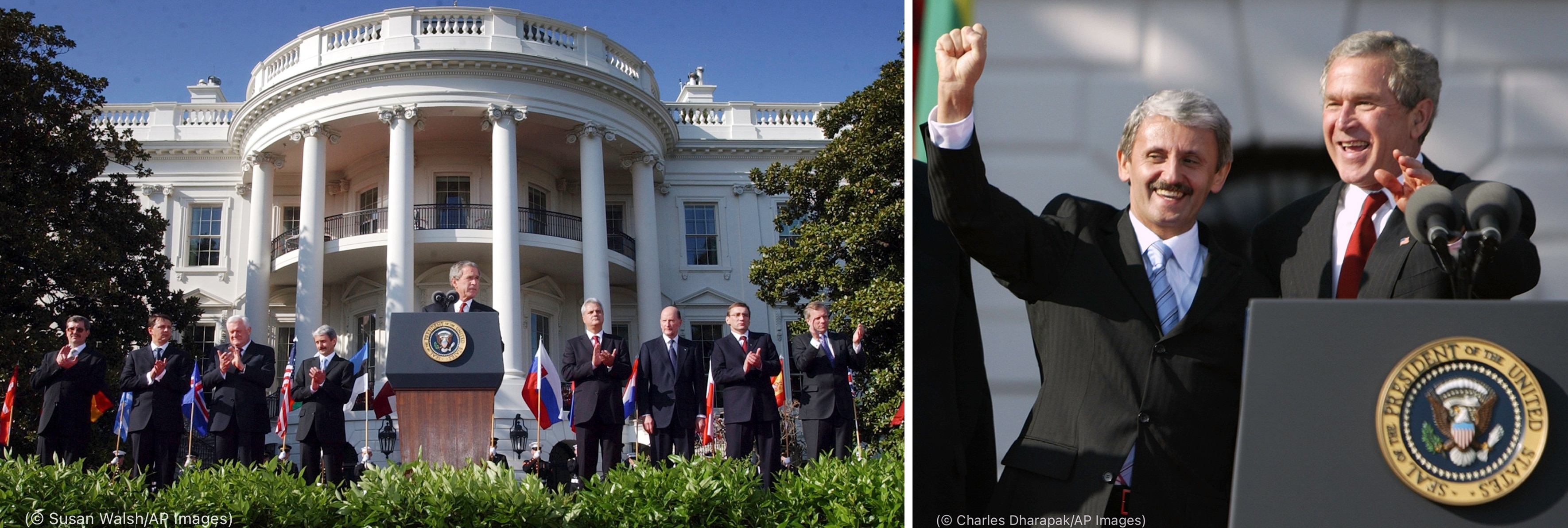 Left photo: George W. Bush speaking in front of White House (© Susan Walsh/AP Images) Right photo: George W. Bush and Mikuláš Dzurinda standing near lectern, waving (© Charles Dharapak/AP Images)