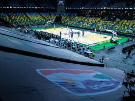View from high seats of basketball game (© Cyril Ndegeya/Xinhua/Getty Images)