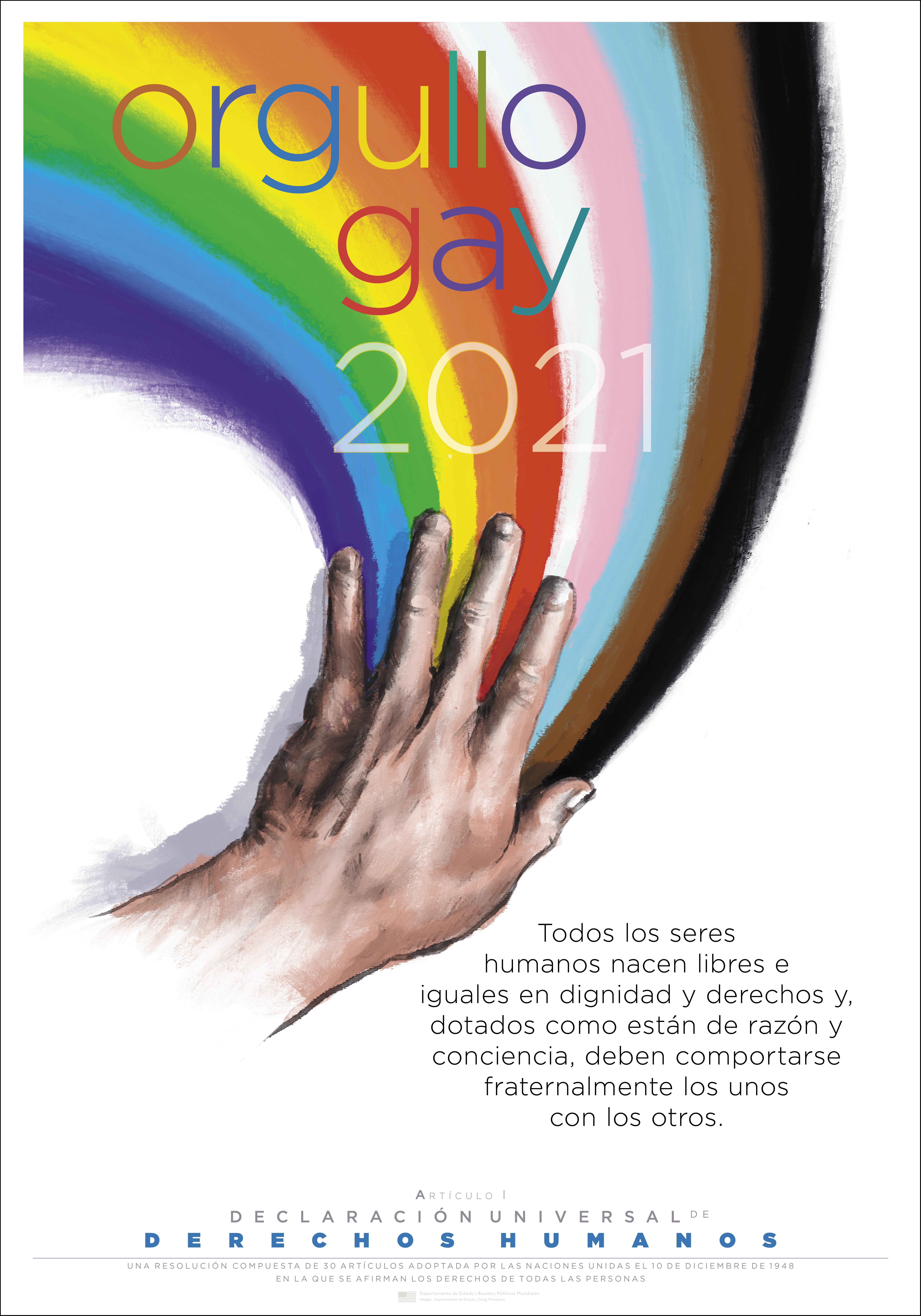 Póster del Mes del Orgullo 2021 muestra una mano diseminando los colores del arco iris. (Depto. de Estado/D. Thompson)