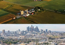 Top: Aerial view of farmland. Bottom: Los Angeles skyline (Both images © Shutterstock)