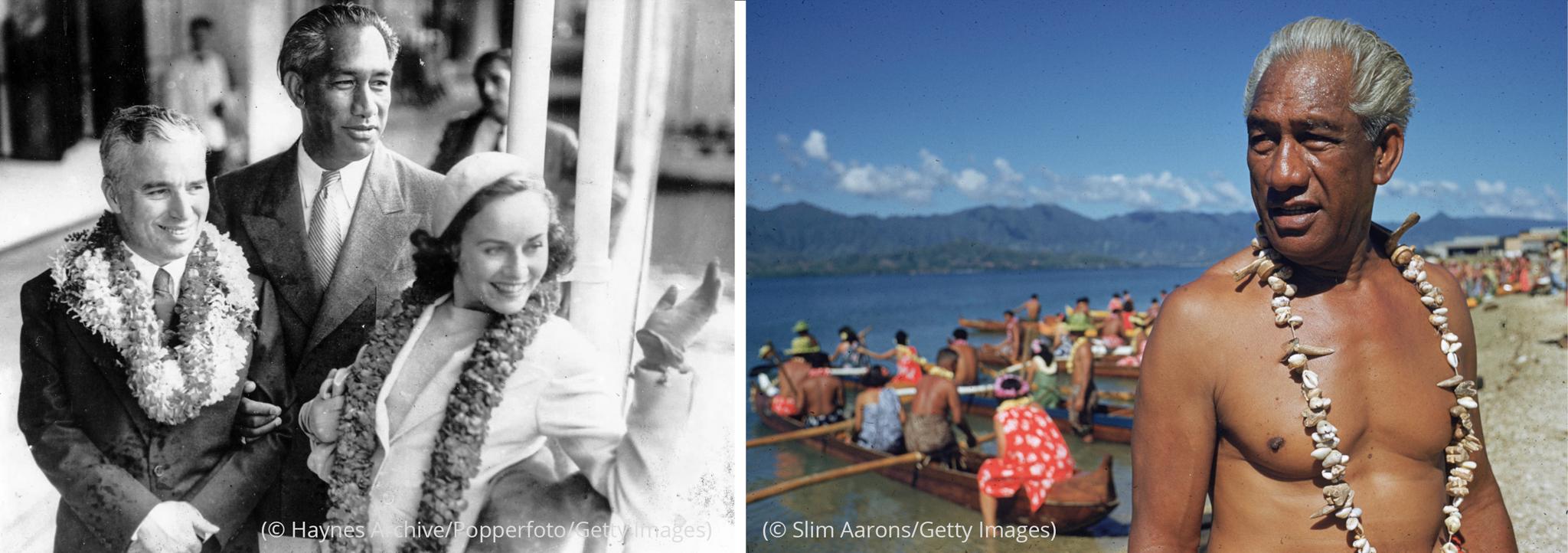 "Izda.: Duke Kahanamoku de pie detrás de Charlie Chaplin y Paulette Goddard (© Haynes Archive/Popperfoto/Getty Images) Dcha.: Duke Kahanamoku de pie frente a personas en canoas ""outrigger"" (© Slim Aarons/Getty Images)"