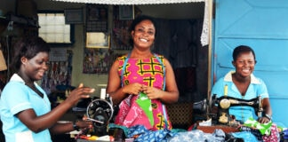 Three women sewing (Courtesy of Global Mamas)