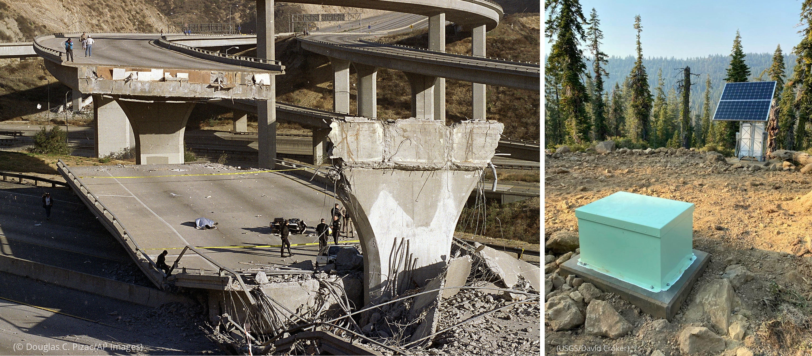 Left photo: Emergency personnel walking around scene of collapsed freeway overpass (© Douglas C. Pizac/AP Images) Right photo: Seismometer and solar panel sitting in clearing in forest (USGS/David Croker)