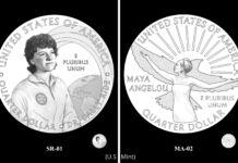 طرح های پیشنهادی سکه ایالات متحده که سالی راید و مایا آنجلو را نشان می دهند (U.S. Mint)