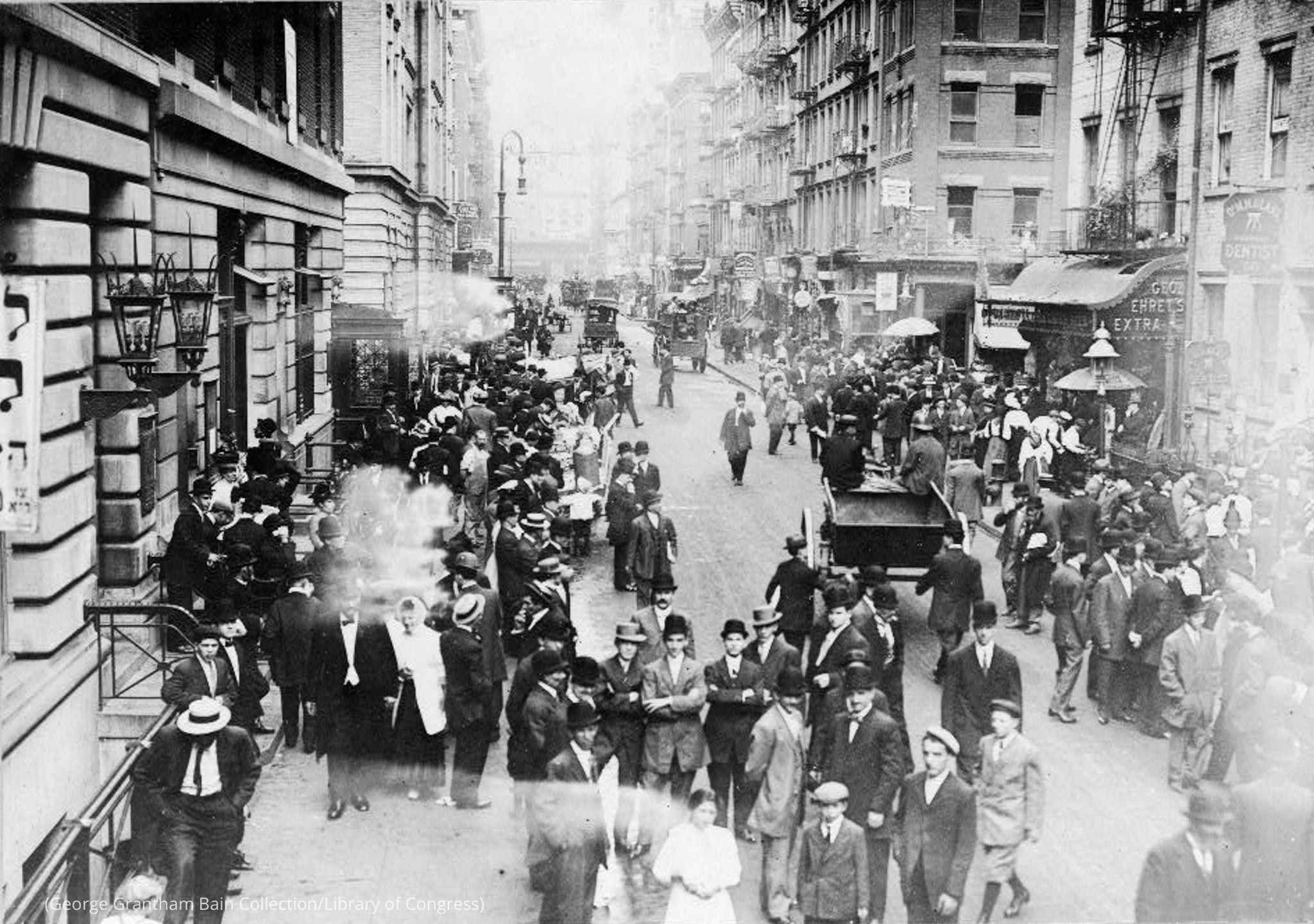 Historical photo of people standing in street (George Grantham Bain Collection/Library of Congress)