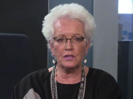 Gayle Smith speaking into camera