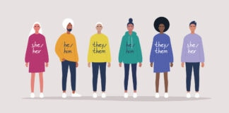 Illustration showing pronouns written on diverse group of human figures (© Shutterstock)