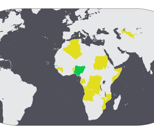 Mapamundi con algunos países destacados (Depto. de Estado/S. Gemeny Wilkinson)