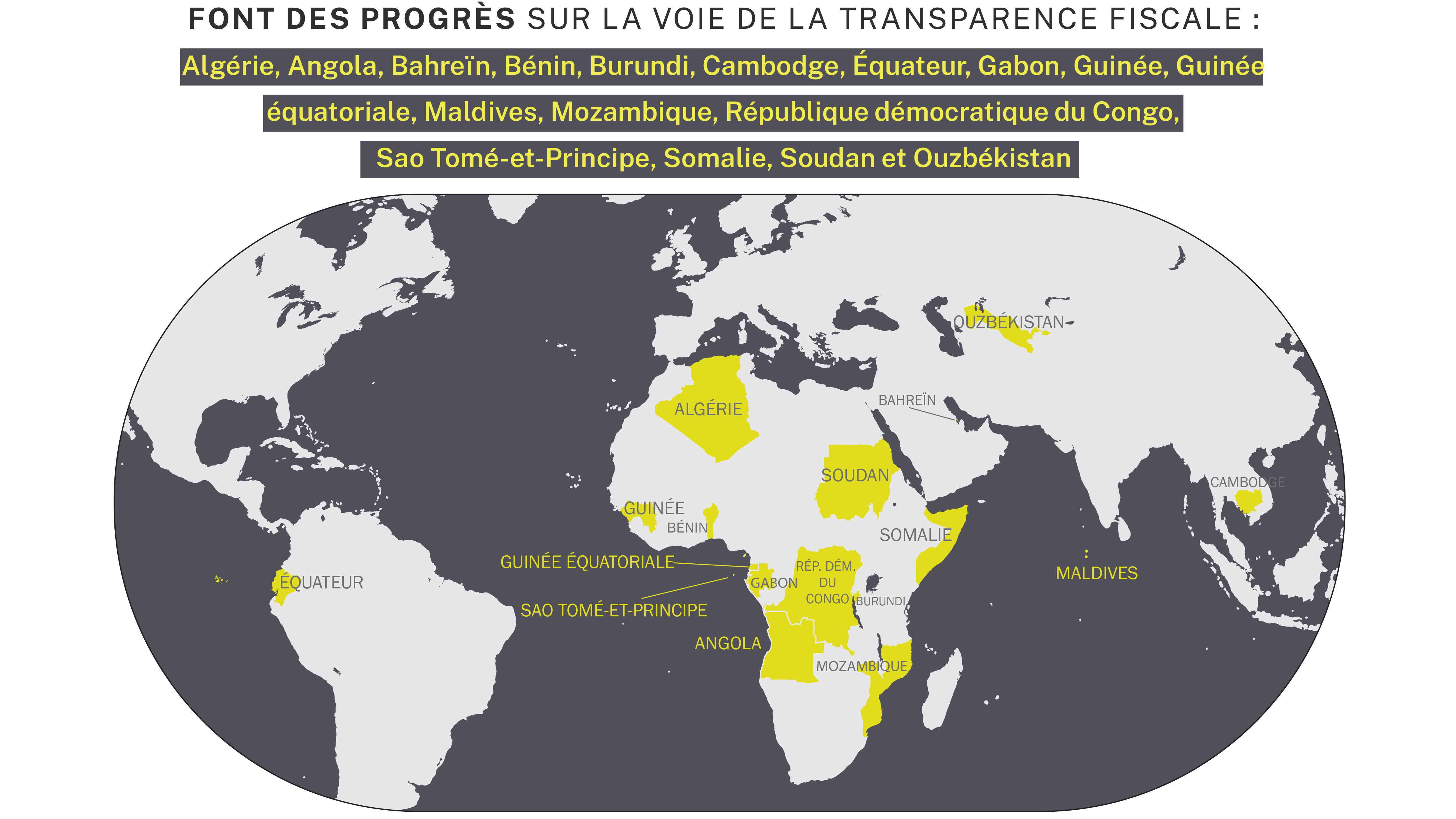 Texte et carte montrant les 17 pays qui progressent sur la voie de la transparence fiscale (Département d'État/S. Gemeny Wilkinson)