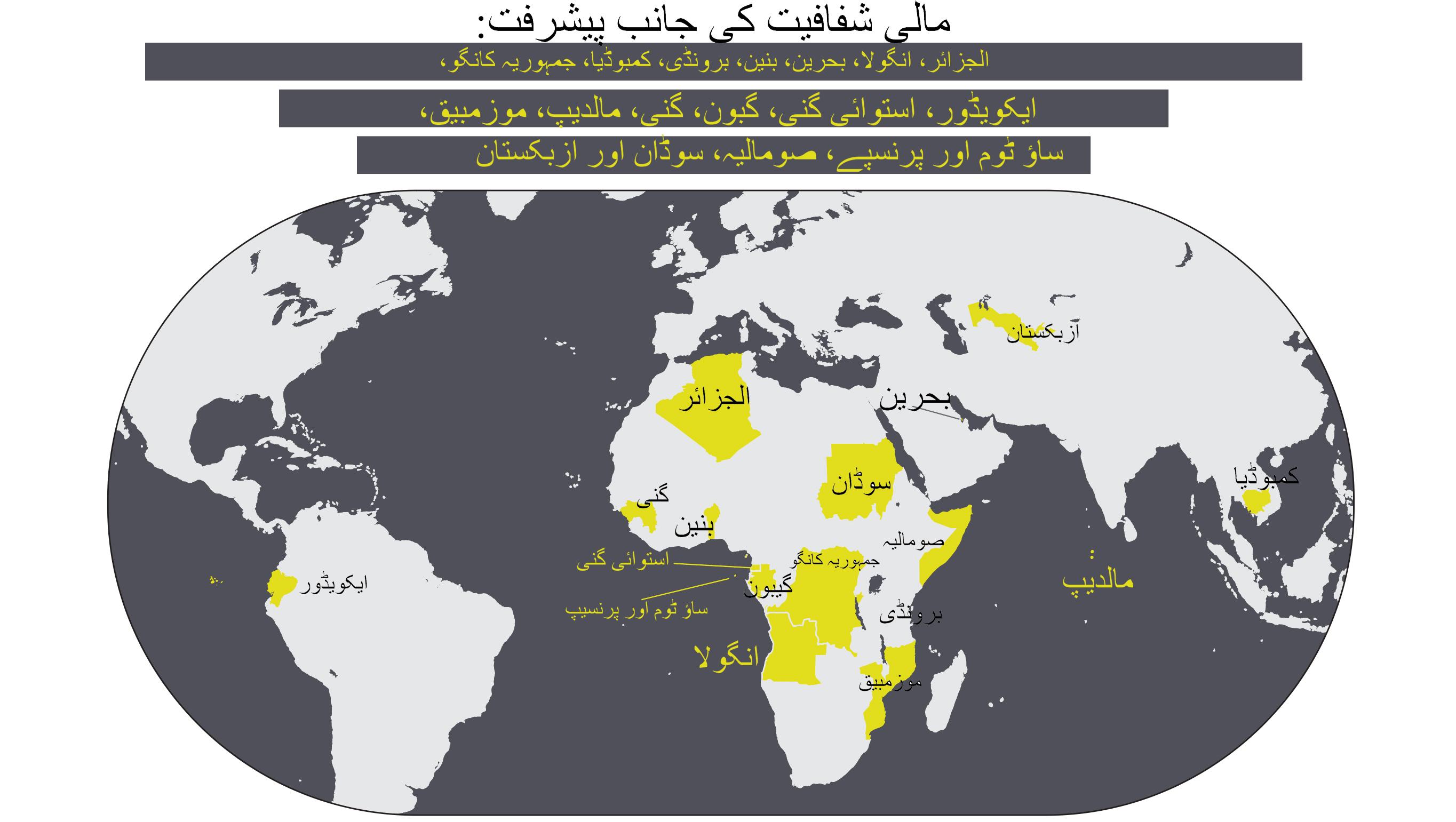 مالی شفافیت کی جانب پیشرفت کرنے والے 17 ممالک کو اجاگر کرنے والی عبارت اور نقشہ (State Dept./S. Gemeny Wilkinson)