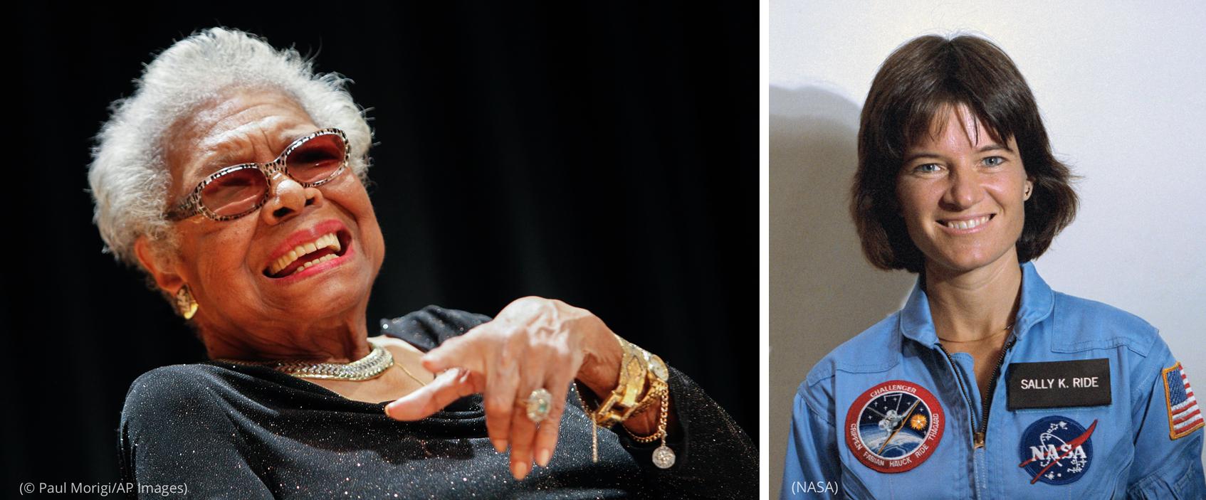 Gabungan foto Maya Angelou dan Sally Ride tersenyum (© Paul Morigi/AP Images) (NASA)