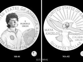 Usulan desain koin AS menampilkan Sally Ride dan Maya Angelou (U.S. Mint)