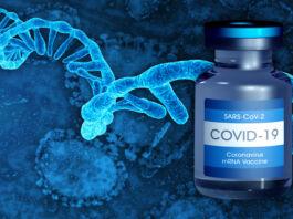 تصویر یک شیشه واکسن کووید-۱۹و آر اِن اِ پیک (© Shutterstock)