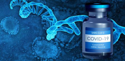 Illustration d'un flacon contenant un vaccin anti-COVID-19 et d'une molécule d'ARNm (© Shutterstock)