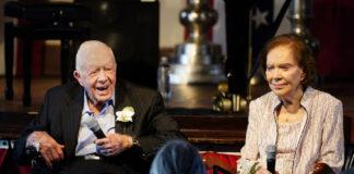 2021年7月10日卡特夫妇出席庆祝结婚75周年的活动(照片:美联社)
