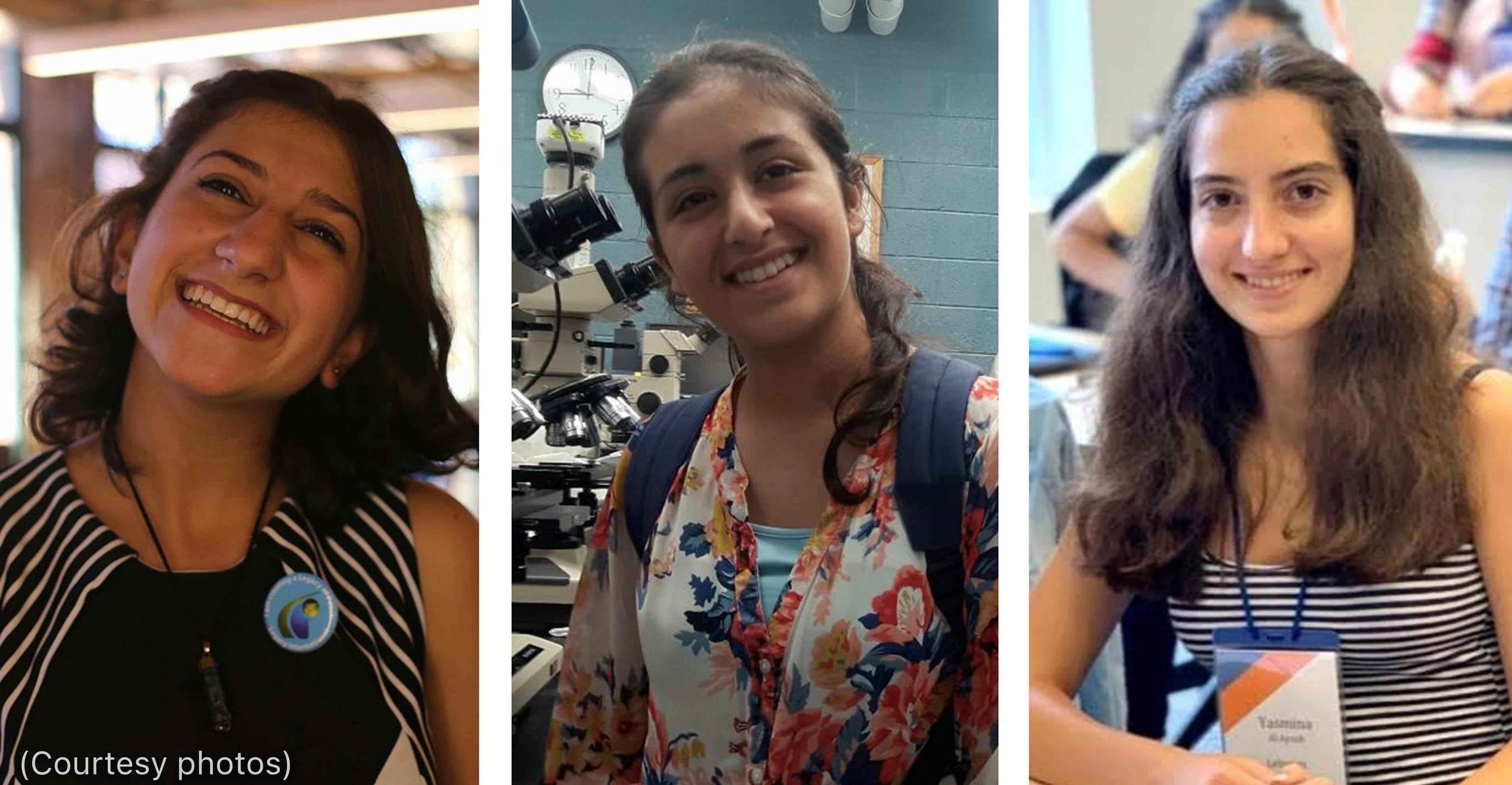 Trois photos de trois femmes souriantes (Photos offertes)
